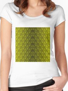 Golden Yellow and Black Python Snake Skin Reptile Scales Women's Fitted Scoop T-Shirt