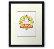 Retro Badge Seventies Orange Green Grunge Framed Print