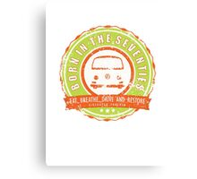 Retro Badge Seventies Orange Green Grunge Canvas Print