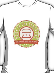 Retro Badge Seventies Orange Green T-Shirt