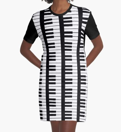 Vertical Multi Piano Keyboard  Graphic T-Shirt Dress
