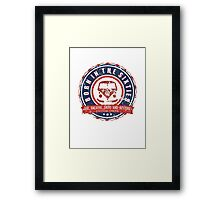 Retro Badge Sixties Red Blue Grunge Framed Print