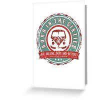 Retro Badge Sixties Red Green Grunge Greeting Card