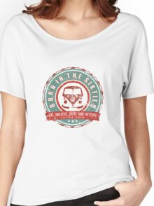 Retro Badge Sixties Red Green Grunge Women's Relaxed Fit T-Shirt