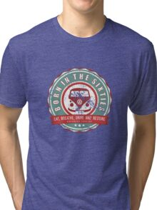 Retro Badge Sixties Red Green Grunge Tri-blend T-Shirt