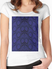 Midnight Blue Python Snake Skin Reptile Scales Women's Fitted Scoop T-Shirt