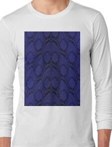 Midnight Blue Python Snake Skin Reptile Scales Long Sleeve T-Shirt