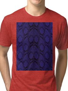Midnight Blue Python Snake Skin Reptile Scales Tri-blend T-Shirt