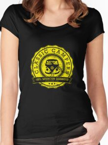 Retro Badge Yellow VW Classic Grunge Women's Fitted Scoop T-Shirt