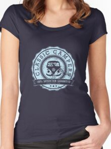 Retro Badge Pale Blue VW Classic Grunge Women's Fitted Scoop T-Shirt