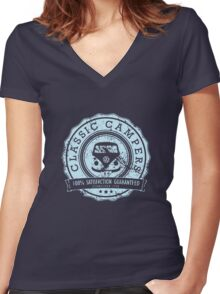 Retro Badge Pale Blue VW Classic Grunge Women's Fitted V-Neck T-Shirt