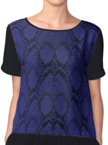 Midnight Blue Python Snake Skin Reptile Scales Chiffon Top
