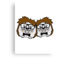 2 freunde team paar anzug fliege grinsen spange nerd geek schlau dumm intelligent freak lustig frech teenager hornbrille igel comic cartoon  Canvas Print