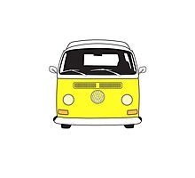 Early Bay VW Camper Front Yellow Photographic Print