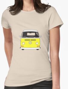 Early Bay VW Camper Front Yellow Womens Fitted T-Shirt