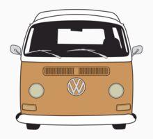 Early Bay VW Camper Front Orange T-Shirt