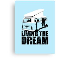 VW Camper Open Roof Living The Dream Canvas Print