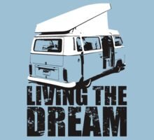 VW Camper Open Roof Living The Dream Kids Tee