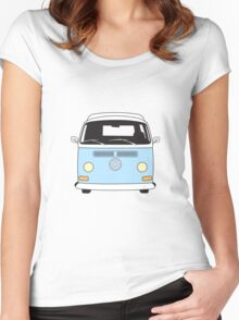 Early Bay VW Camper Front Pale Blue Women's Fitted Scoop T-Shirt