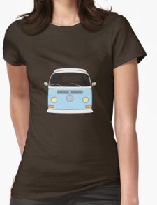 Early Bay VW Camper Front Pale Blue Womens Fitted T-Shirt