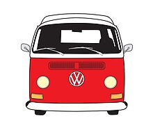 Early Bay VW Camper Front Red by splashgti
