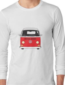 Early Bay VW Camper Front Red Long Sleeve T-Shirt
