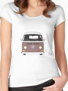 Early Bay VW Camper Front Brown Women's Fitted Scoop T-Shirt