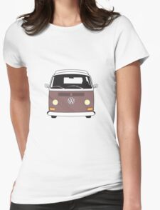 Early Bay VW Camper Front Brown Womens Fitted T-Shirt