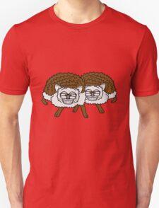 2 freunde team nerd geek hornbrille pickel freak spange schlau intelligent grinsen lustig comic cartoon süßer kleiner niedlicher igel  Unisex T-Shirt