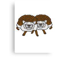 2 freunde team nerd geek hornbrille pickel freak spange schlau intelligent grinsen lustig comic cartoon süßer kleiner niedlicher igel  Canvas Print