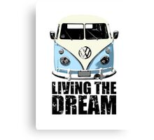 VW Camper Living The Dream Pale Blue Canvas Print