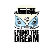 VW Camper Living The Dream Pale Blue Photographic Print