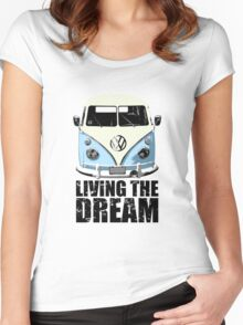 VW Camper Living The Dream Pale Blue Women's Fitted Scoop T-Shirt