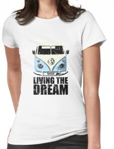 VW Camper Living The Dream Pale Blue Womens Fitted T-Shirt