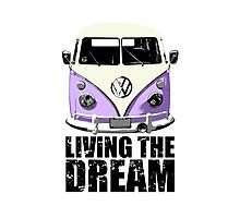 VW Camper Living The Dream Lilac Photographic Print