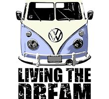 VW Camper Living The Dream Blue by splashgti