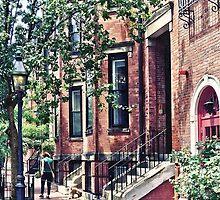 Boston MA - Walking the Dog on Mount Vernon Street by Susan Savad