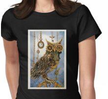 Clockwork Owl 2 Womens Fitted T-Shirt