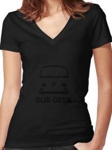 VW Camper Bay Bus Geek Black Women's Fitted V-Neck T-Shirt