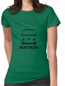 VW Camper Bay Bus Geek Black Womens Fitted T-Shirt