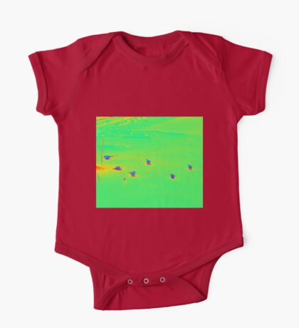 Cute little Birds eating seeds on the ground One Piece - Short Sleeve