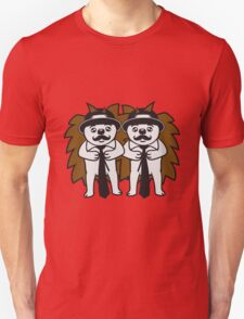 2 freunde paar team sir gentlemen herr mann mütze krawatte mustache schnurrbart schnautzer comic cartoon stehender süßer kleiner niedlicher igel  Unisex T-Shirt
