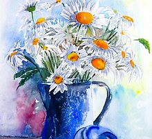 Daisies in a Blue Jug by closetpainter