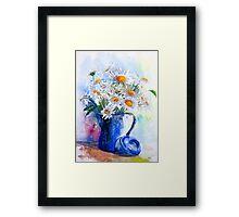 Daisies in a Blue Jug Framed Print