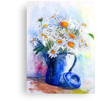 Daisies in a Blue Jug Canvas Print