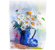 Daisies in a Blue Jug Poster