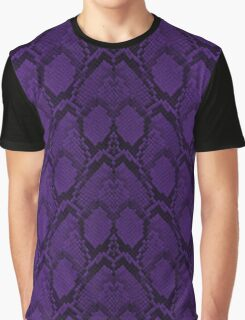 Deep Purple and Black Python Snake Skin Graphic T-Shirt