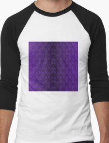 Deep Purple and Black Python Snake Skin Reptile Scales Men's Baseball ¾ T-Shirt