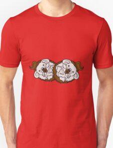 2 brüder geschwister schwestern babys kinder team freunde goldig baby kind schnuller windel stehender süßer kleiner niedlicher igel  Unisex T-Shirt