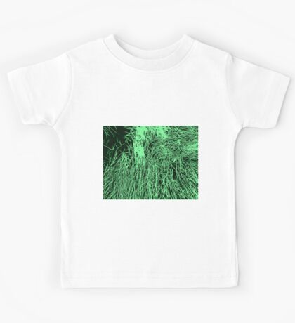 Abstract Green & Black Lines Pattern Kids Tee